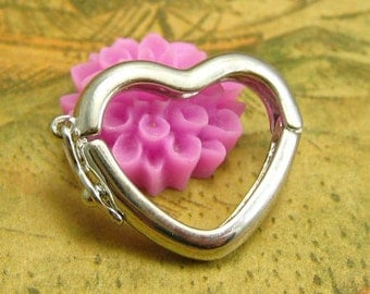 5 pcs Heart Clasps Nickel Free CH2189
