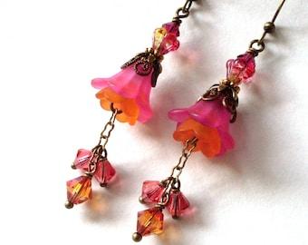 Fuchsia orange flower earrings, lucite flower layered earrings, crystal dangles, antiqued gold brass, bead caps, vintage look flower jewelry