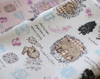 w81_55 - rabbits and bears- cotton linen - Half Yard ( 2 color )