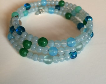 Light Blue Memory Wire Bracelet