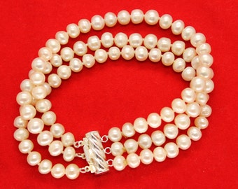 Beautiful 3-Strand White Freshwater Pearl Bracelet