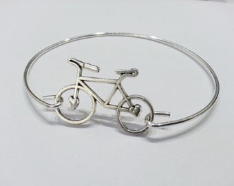 Bicycle Charm Bangle Bracelet Silver Plated Cuff - LBBKBG