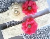 Wedding Garter Set Bridal Garter Set Fuchsia Hot Pink Lace Garter Set Ivory Rhinestone Crystal Lace Garter Set GR133LX