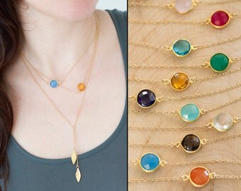 Gemstone Connecters - Layering necklace - Simple Round Stone Necklace - Gold Necklace - Delicate necklace - Minimalist Jewelry