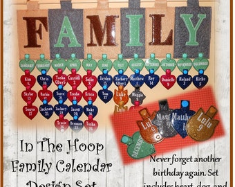 In The Hoop Family Birthday Calendar Embroidery Machine Design Set