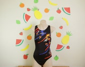 ON HOLD for Dulce Estrada Vintage 90s ADIDAS Bright One Piece Swimsuit Bodysuit Bright Summer Festival