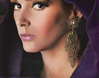 "1966 MONET Costume Jewelry Purple Ad - Escambria Collection ""In the Golden Manner"" - Master Jeweler - Magazine Ad - Wall Art"