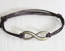 Infinity Bracelet or Anklet, Eternity Bracelet, Karma Jewelry, BFF Gift, Friendship Gift (Silver, Antique Brass or Gold)