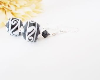 Black and White Earrings, Lampwork Earrings, Gifts Under 50, Black White Earrings, Czech Glass Earrings, Black White Dangle Beaded Earrings