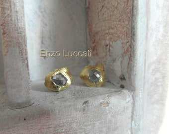 22kt solid yellow gold - rose cut diamond post back- stud earrings-pre Columbian inspired-one of a kind
