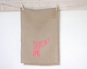 Fox dishcloth - Handpulled screenprinted neon pink fox tea towel