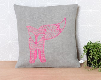 Fox pillow in grey linen and neon pink - Ready to Ship