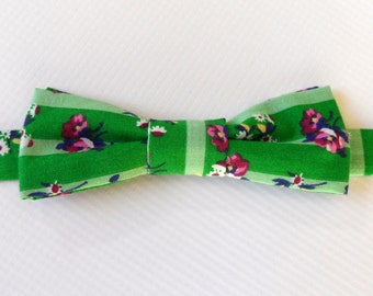 Adjustable Bow Tie in Green Cotton // Floral and Stripes // Fun, Bright, Whimsical // Men's Accessories