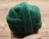 Pine Green Wool Roving for Needle Felting, Wet Felting, Spinning, Green, Evergreen, Forest