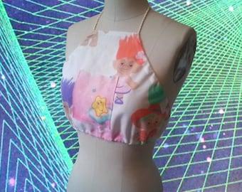 90s Troll Print  with Care Bear Patch Pocket Handmade Halter Top size Medium