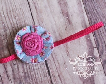 On Sale - Blue and Pink Flower Headband 3 - 6 Months
