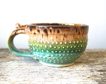 12 oz. Moss Green /Mocha Handmade Mugs, Handmade Wheel Thrown by RiverStone Pottery