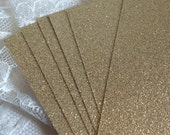 RESERVED for DANIELLE - Glitter Cardstock 5x7 for DIY Wedding or Quince Invitations - Gold Glitter Menus - Programs - Place Cards - Gold