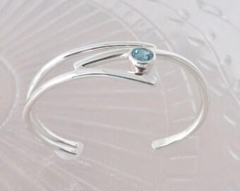 Sterling silver bracelet Blue topaz handmade branches, twig bracelet