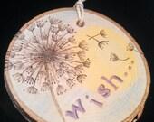 Dandelion Wish Wood Burned Ornament
