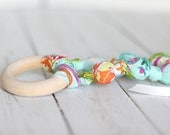 Teething Ring Necklace in Sky Blue Bouquet
