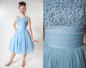 Vintage 1950s Blue Party Dress - Ribbon Work Pastel Chiffon - Wedding Bridal Fashions