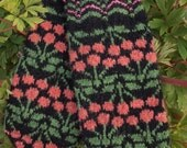 Finely Hand Knitted Seto (Estonian) Mittens in Siberian style with Pink Berries on Black