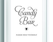 Printable Candy buffet, Dessert station table sign, Love is Sweet sign, DIY wedding reception sign