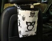 Owls car trash bag/accessory holder with adjustable strap