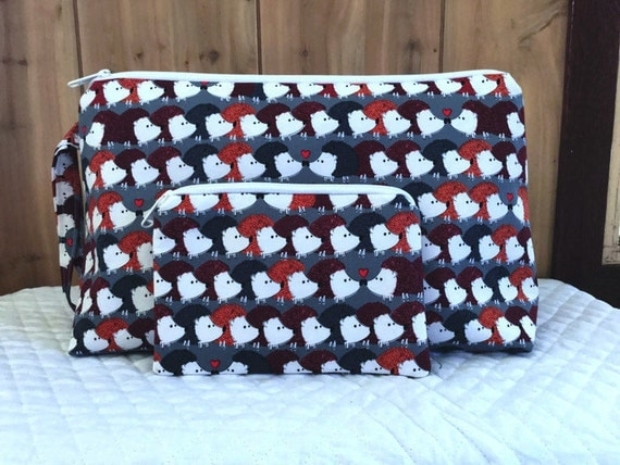 "Project bag with notion pouch Hedgehog love//knitting bag// cosmetic bag// accessory bag with notion pouch//14""X 9""X 5"""