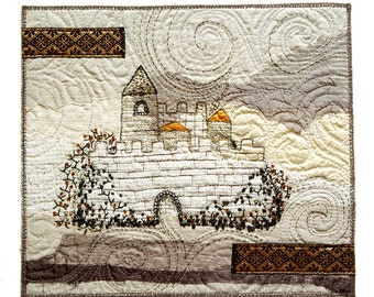Castle in white textile wall art ready to frame 29 x 26 cm