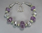 Sterling Amethyst Necklace, Hand Carved Beads, Vintage Ethnic Jewelry, Tribal, Boho, India