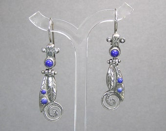 Lapis Lazuli Earrings, Hinged Sterling Earrings, N. Africa Middle Eastern Jewelry, Boho
