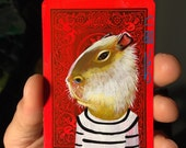 Capybara portrait on a playing cards. 2013
