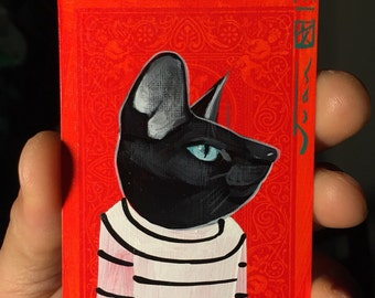 Black Cat portrait on a playing cards. Original acrylic painting. 2013