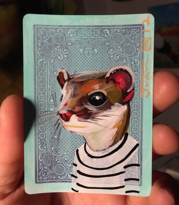 Least Weasel portrait on a playing cards. Original acrylic painting. 2012