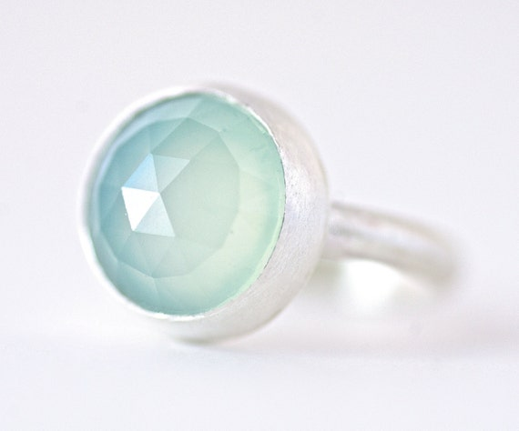 Rose Cut Aqua Chalcedony Ring in Sterling