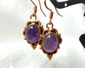Copper and Amethyst Pierced Earrings Oval Cabochon Victorian Revival Downton Abbey February Birthstone Summer Garden SALE
