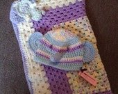 READY to SHIP--2 Pc. Baby Elephant Baby Set--Crochet Lovey Blanket & Hat