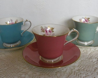 Vintage Cup and Saucer - Aynsley Bone China 2964, Pink Rose, Gold Trim, Made in England, Pink, Turquoise or Sage, Shower Gift, Mother's Day