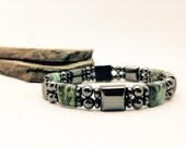 Unisex Green African Gemstone Hematite Magnetic Therapy Bracelet Dual Strand Custom Sized