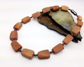 Rustic CHUNKY CHOKER Brown Stone Necklace    Magnetic Therapy Easy-on Clasp    Triple POWER Hematite