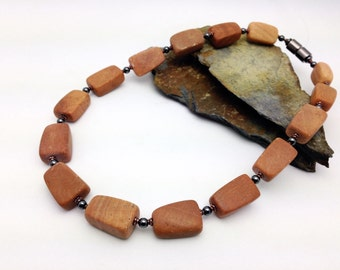 Rustic CHUNKY CHOKER Brown Stone Necklace || Magnetic Therapy Easy-on Clasp || Triple POWER Hematite