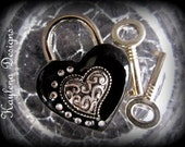 Heart Lock, lock, BDSM Lock, lock and key, locking Jewelry hearts and crystals