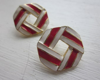 Vintage 1960s Nautical Style Mod Earrings, Red and White Enamel and Goldtone, Pierced