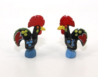 Folk Art Chicken Figurines Swedish Handpainted