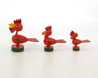 Wooden Chicken Family