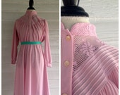 Vintage Dress - Rustic Rose Pretty in PINK 70s Dress with Lace Collar  L