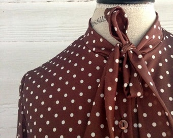 Vintage Brown and White POLKA Dot Secretary Shirt