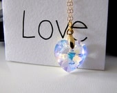 Heart Necklace Swarovski Crystal Heart Pendant AB Crystal Bridesmaid Jewelry Bride's Jewelry Maid of Honor Gift Bridesmaids Gift Wedding